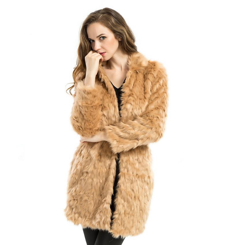 Winter Warm Plus Size Long Faux Fur Coats Jackets Women
