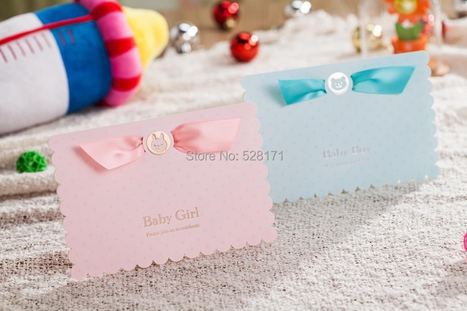 Wholesale Newest Design 3d Cartoon Baby Shower Invitation Cards Blue Boy Pink Girl Baby First Birthday Favor Cards Romantic Birthday Cards Romantic
