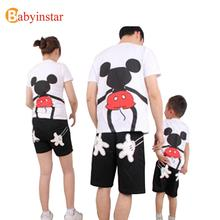 2016 Family Look Summer Short Sleeve Cute Cartoon Mouse T Shirt Mother Daughter Father Son Family