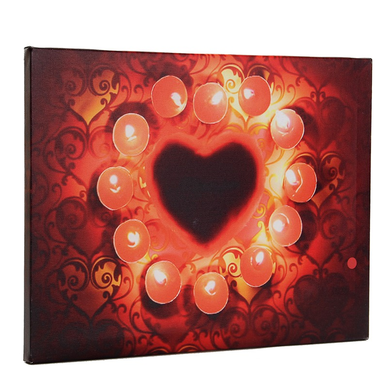 Flickering Red Candles Light Up LED Canvas Painting Art Picture Mural for  Home Living Room Hotel Hallway Christmas Decor Gifts 8cd4f245b2003