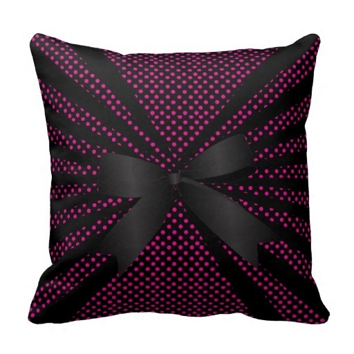 Foreign Classy Black Abstract And Hot Pink Dots Designed Pillow Case (Size: 20