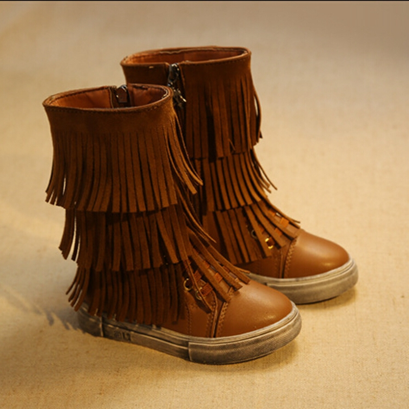 Fashion 3 Layers Kids Fringe Boots PU Leather Botte Enfant Fille Classic Mid Calf Girls Boots