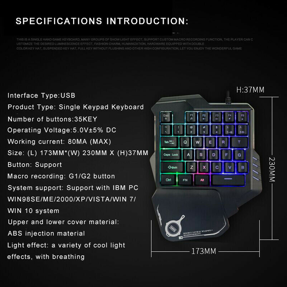 b5f2566605a Tablet Wired ABS Anti Slip Gaming Keyboard Multi Key Accessories LED ...
