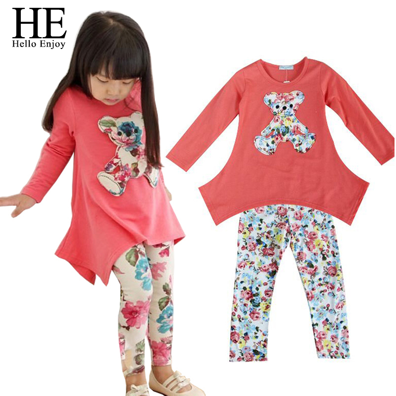 New 2016 Casual clothes Hot sales Autumn baby girl dress long sleeve T shirt Flower Legging