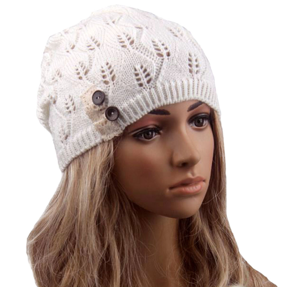 Feitong новый 2016 зима осень женщин оставляет сплошной цвет кнопки выдалбливают вязаная шапка крышка женский мода Skullies
