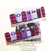 Love Girls Purple Bow Nail Arts Sticker 14 pcs/set Waterproof Nail Decals Art Sticker Gel Polish Manicure Foils Beauty Makeup