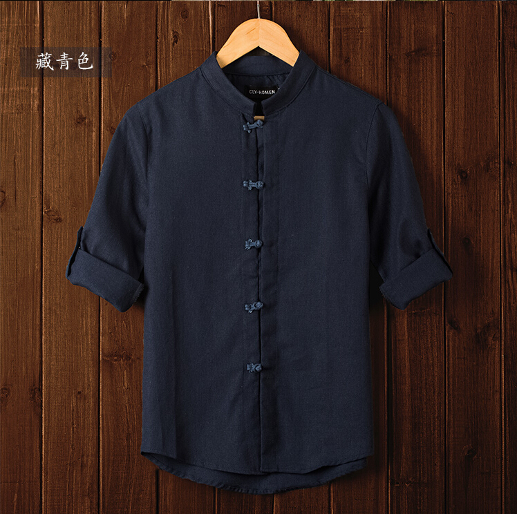 Последние 7 минут рукав рубашки больших ярдов рубашку прилив восстановление древних путей мужской лен льняные рубашки 6 цвет 4 XL