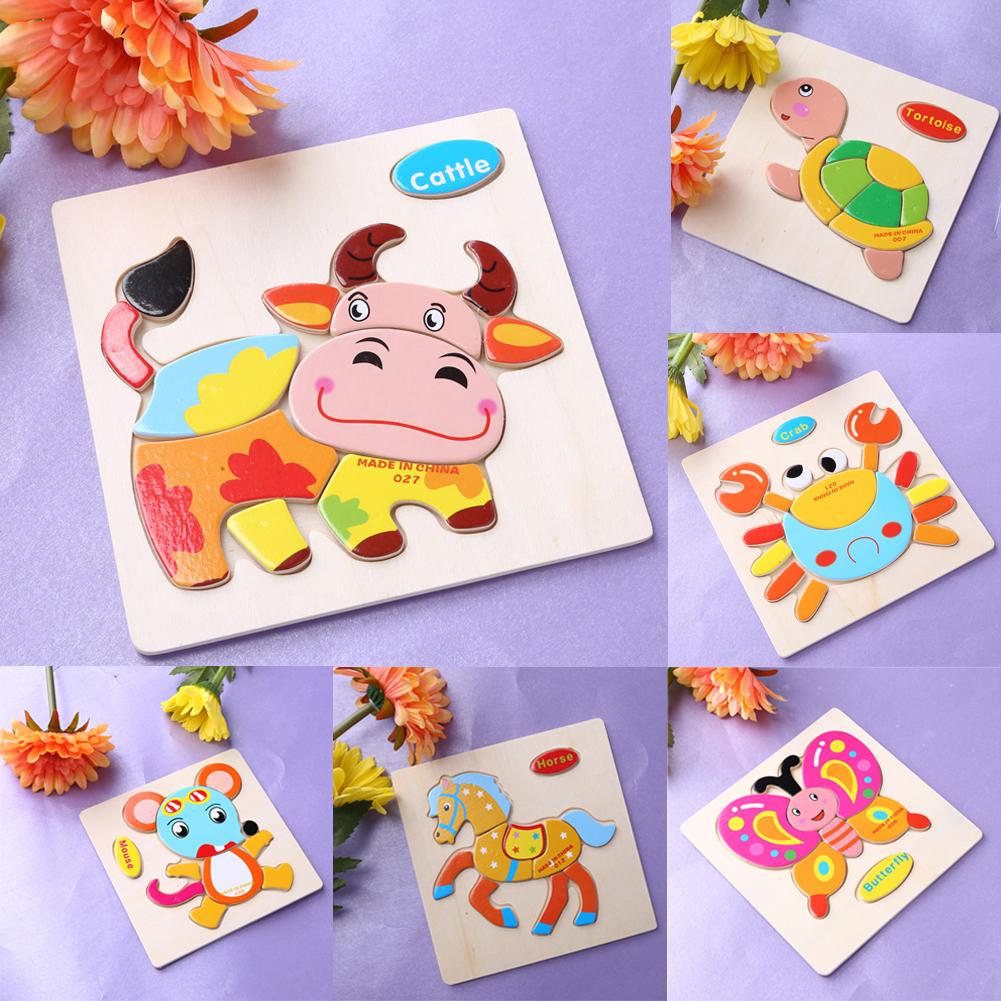 Anak anak Jigsaw Puzzle Hewan Kartun Dimensi Puzzle Kekuatan Anak Kayu Jigsaw Puzzle Anak anak Pendidikan Belajar Mainan