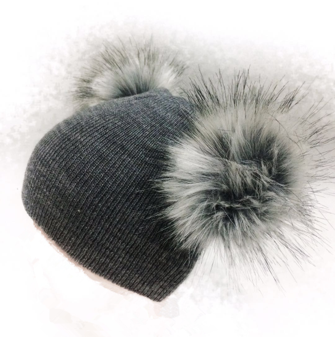 1252bd8eccc0d5 children's winter infant newborn baby kids faux fur wool hat cap beanie  with 2 two double pom pom beanie for boys and girl 0-40Y