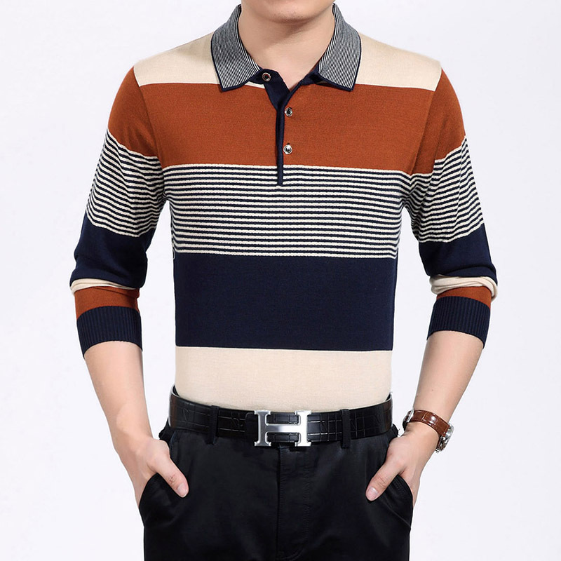 Men's Long Sleeved Striped Polo Shirts