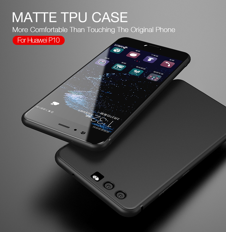 Soft Phone Case For Huawei P10 Ultra Thin Phone Cover For Huawei P10 Case TPU Silicone Matte Full Cover Anti-Fingerprint