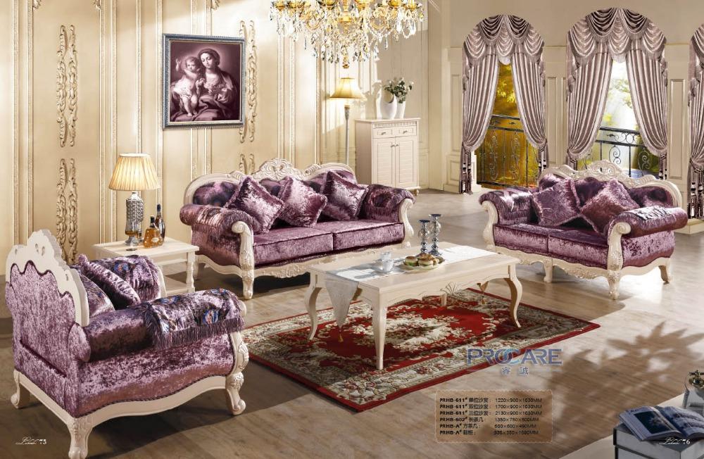 3 2 1 Purple Fabric Sofa Set Living Room Furniture Modern Wooden