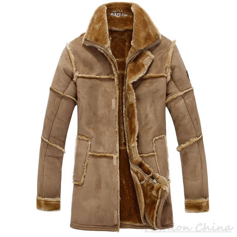 nouveau style dcf62 20788 € 59.61 35% de réduction Patchwork daim cuir vestes hommes fausse fourrure  manteau polaire manteau militaire en cuir veste de luxe épais chaud Long ...