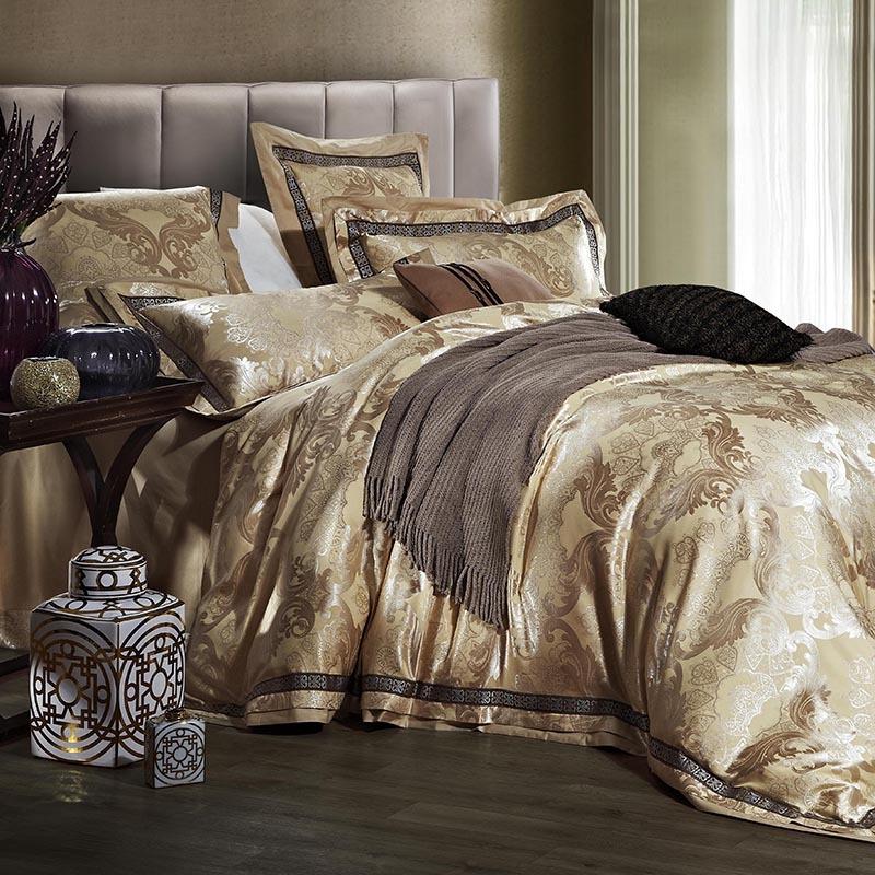 Luxury jacquard satin wedding bedding comforter set for - King size bedroom comforter sets ...