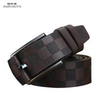 2015 new men's belt 100% leather belt gold letters Belt Buckle grid Haig luxury leather belt men's belts