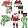 Cotton stripe children pajamas sets kids cartoon boy and girls pajama sleepwear home family Christmas pajamas