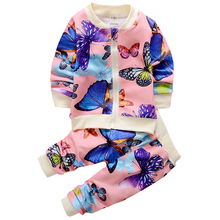 2016 New Baby Clothing Set baby girl Clothing kids butterfly 2PCS coat Pants children clothing