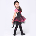 NEW 2016 Pink Cat Cosplay Costume Halloween Stage Performance Child Costumes fantasia vestido dress Kids carnival