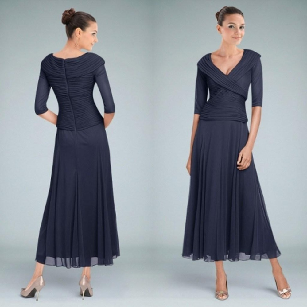 Dark Navy Tea Length Mother Of The Bride Dresses With