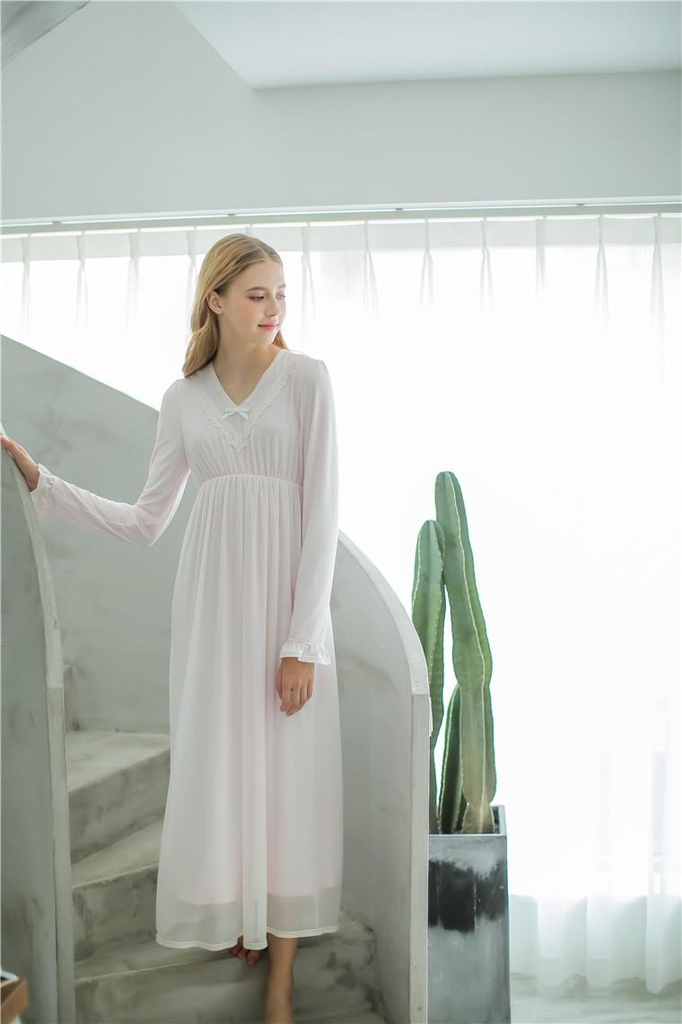 Cotton Women S Long Nightdress Simple Style Sleepwear As