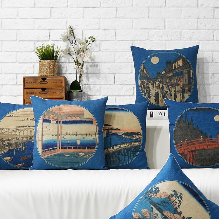 Free Shipping Linen Throw Pillow Hot Sale New Fashion Wedding Decor 45cm Janpan Blue Ancient Ways Home Office Sofa Car Cushion