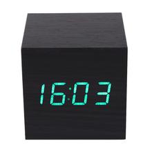 V1NF Modern Wooden Digital Desk Black Alarm Clock Green LED Thermometer