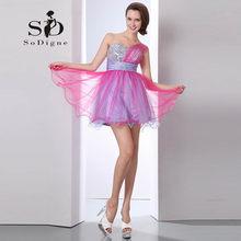 Платье для выпускного вечера 2018 SoDigne с блестками, расшитое бисером, лидер продаж, платье на одно плечо, Vestido De Festas Curto, плиссированное платье д...(Китай)