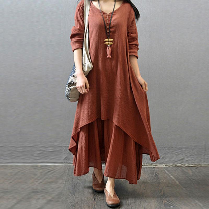 Женщин крестьянская этнические Boho хлопок белье длиной макси широкий платья OD # S