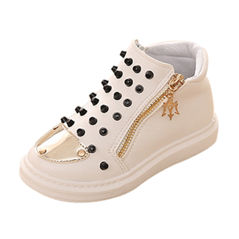 2016 autumn female child leather rivet high fashion male child black casual shoes rivet boots