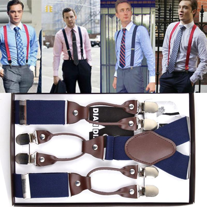a51f4116ab Fashion Men 6 Clips On Braces Vintage Mens Suspender For Trousers ...
