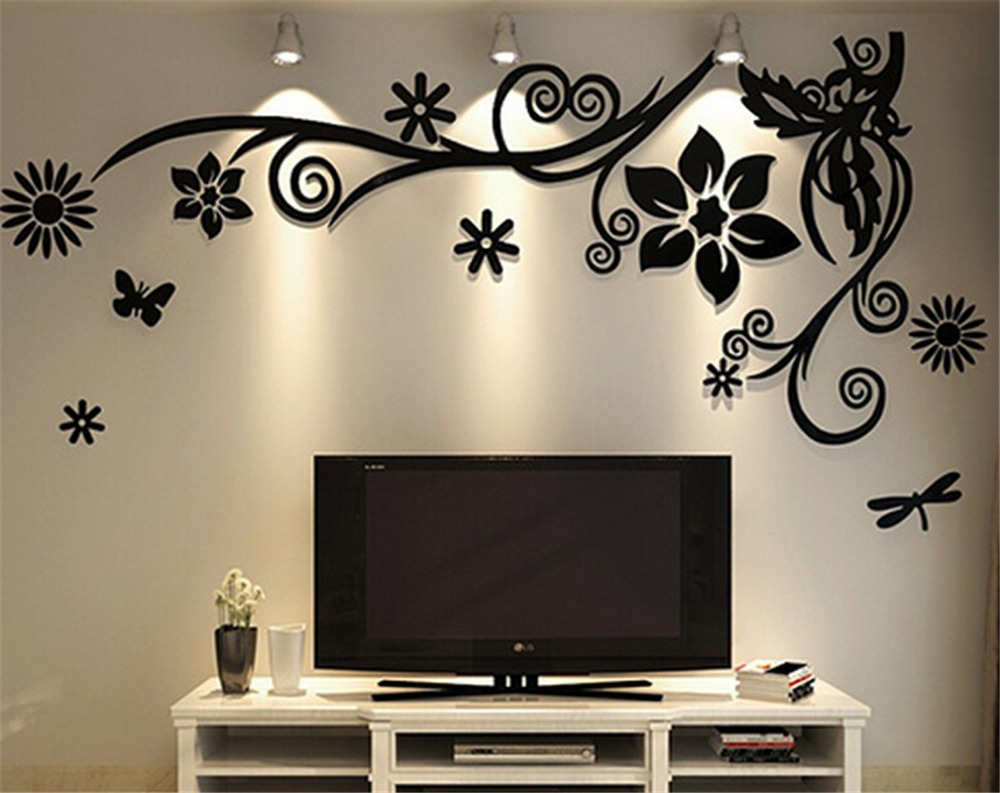 3d Three Dimensional Crystal Acrylic Wall Stickers Home