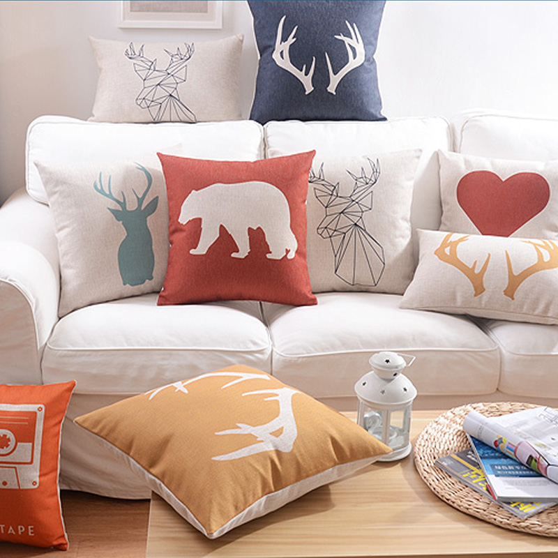 Nordic minimalist style Home Pillow Decoration deer elephant Cushion Cover abstract Decorative Pillow Case free shipping