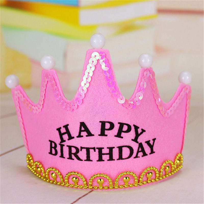 2019 Crown Led Happy Birthday Cap Colorful Non Woven Hat King