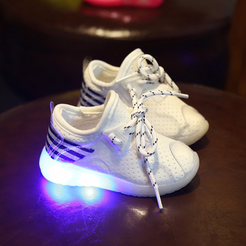 2016 LED lighting flashing children shoes autumn first walkers baby girl sport breathable lace up shoe
