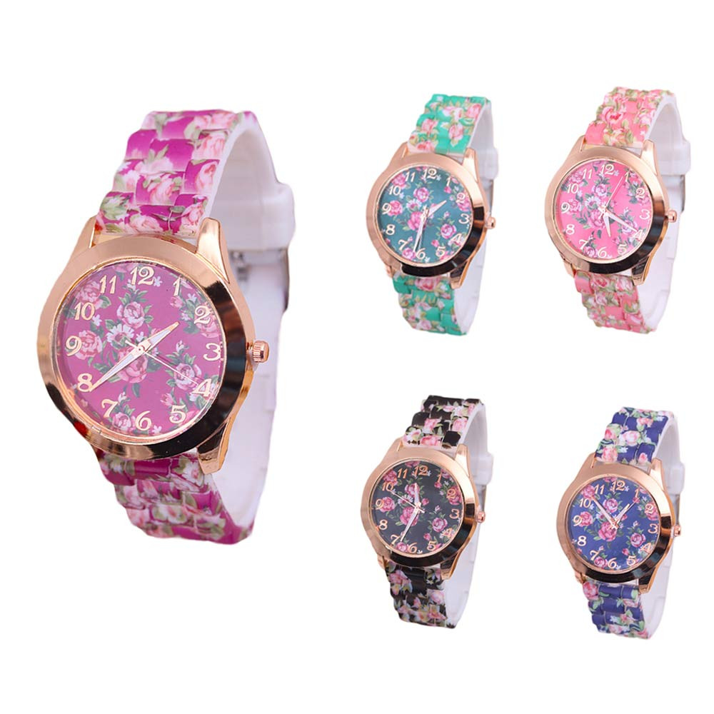 Women's Watches New Fashion Women Leisure Time Rose Pattern Watch Analog Silica Gel Wrist Watch Free Shipping Relogio Feminino Complete In Specifications