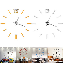 Modern DIY Large Wall Clock 3D Mirror Surface Home Sticker Decor Art Decal