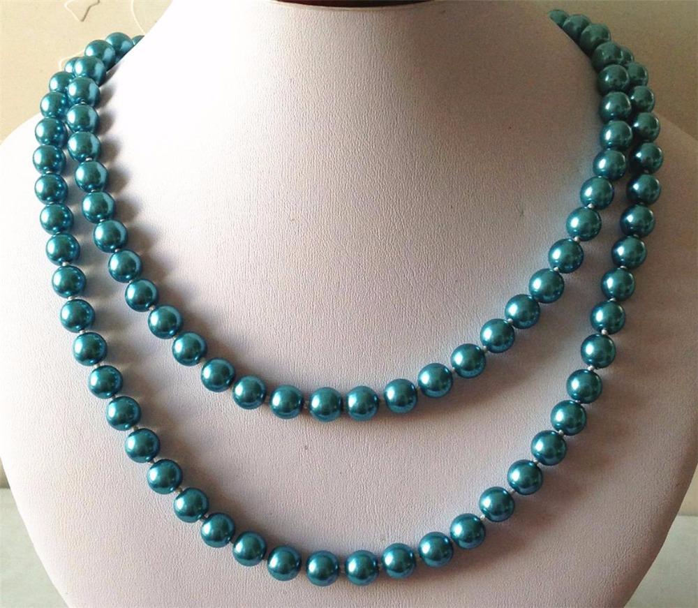 Очаровательная женщины 8 мм синий южная море раковина жемчуг ожерелье 36