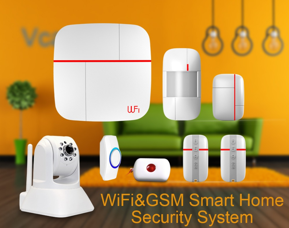 smart wifi gsm muilt function smart home alarm system with ip camera medical emergency button. Black Bedroom Furniture Sets. Home Design Ideas