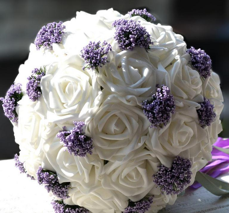 Wholesale Flowers For Weddings Events: Wholesale 30 Roses And Baby's Breath Bouquet Simulation