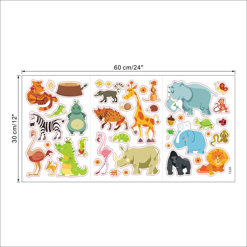 Wholesale Jungle Animals Wall Stickers For Kids Rooms