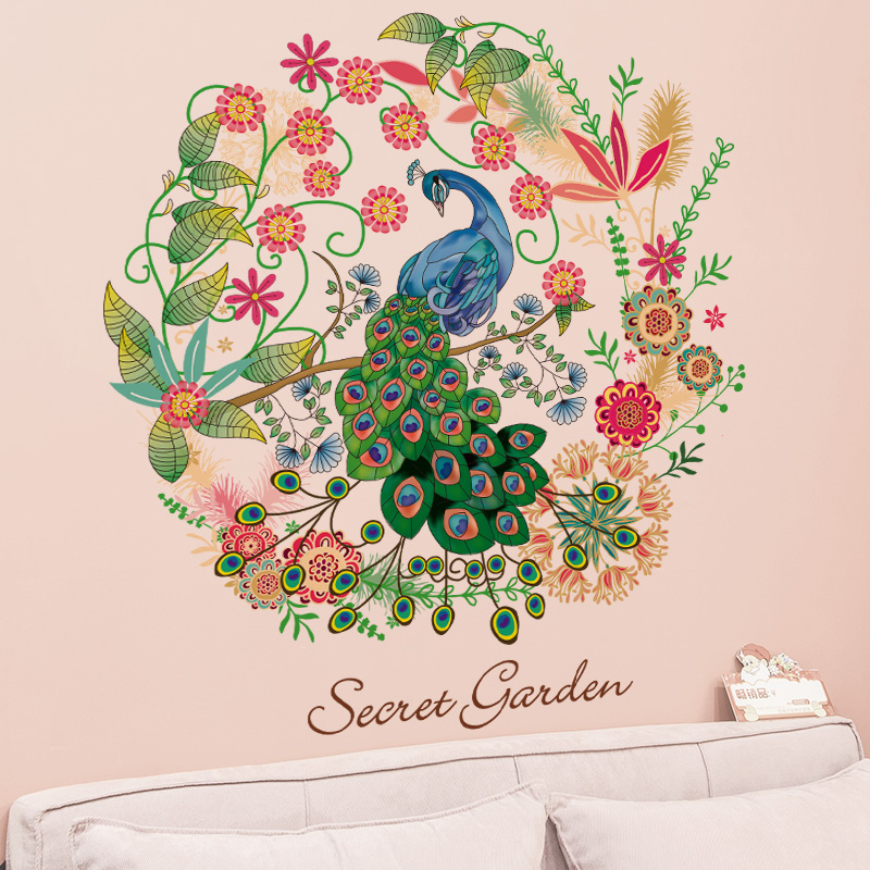 online get cheap peacock wall decal alibaba group. Black Bedroom Furniture Sets. Home Design Ideas