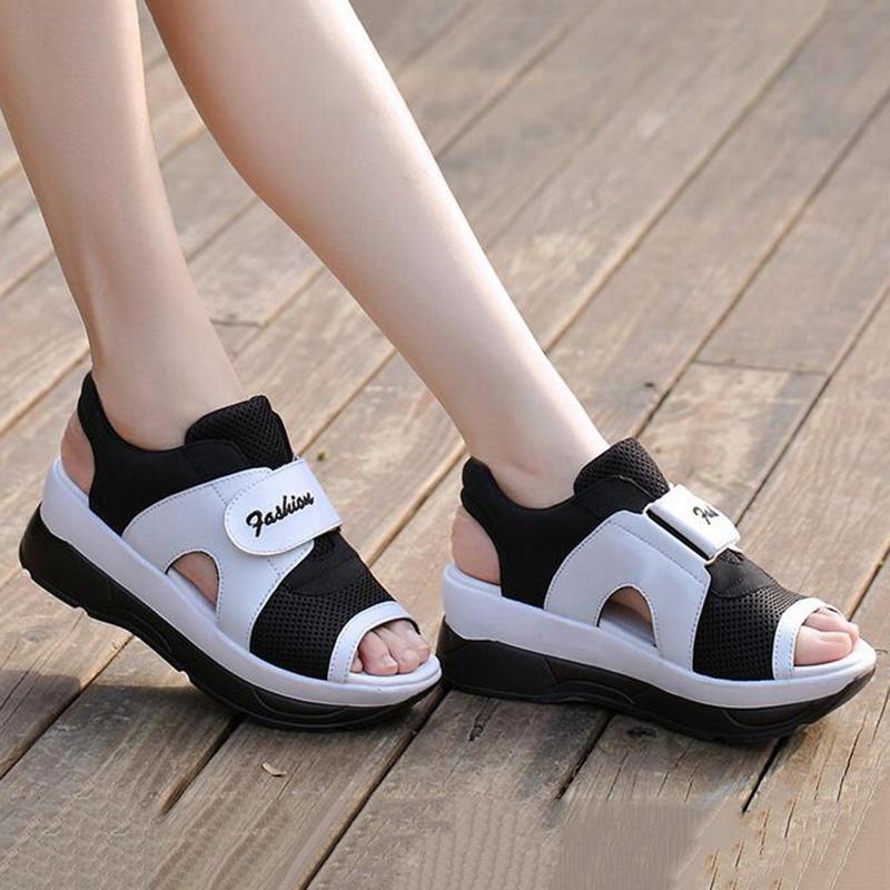 927573692 2017 Fashion Summer Women's Sandals Casual Sport Mesh Breathable Shoes Woman  Comfortable Wedges Sandals Lace Platform