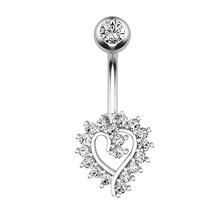 Кольцо для пирсинга в форме сердца, ювелирное изделие, ювелирное изделие из нержавеющей стали, кольцо для пупка с кристаллом, кольцо для пуп...(Китай)