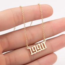 Женское персонализированное ожерелье, специальное ожерелье с датой года и цифрами, girl1994 1995 1996 1997 1998 1999, от 1980 до 2000, ювелирное изделие на цепо...(Китай)
