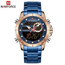 NAVIFORCE часы Топ люксовый бренд мужские спортивные военные часы водонепроницаемые мужские полностью Стальные кварцевые цифровые часы Relogio ...(Китай)