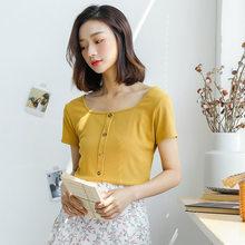 Женская трикотажная футболка с квадратным воротником Heliar, желтый однотонный укороченный топ с коротким рукавом, лето 2020(Китай)