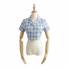 Женская клетчатая рубашка с отложным воротником в Корейском стиле с коротким рукавом, однобортные укороченные рубашки для женщин 2020, новые ...(Китай)