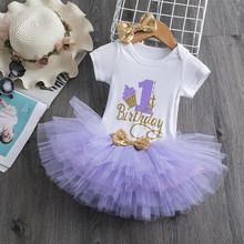 Платье принцессы с цветочным рисунком и единорогом для маленьких девочек; Платье на день рождения; Нарядная одежда; Платье на крестины для д...(Китай)
