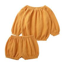 Повседневный комплект одежды для мальчиков и девочек, хлопковая и льняная одежда для маленьких девочек, топы с длинными рукавами и шорты, де...(Китай)