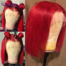 13*4 Короткие парики на шнурках 180% бразильские волосы remy, серое, розовое, голубое, желтое, красное кружево на фронте, человеческие волосы, пари...(Китай)